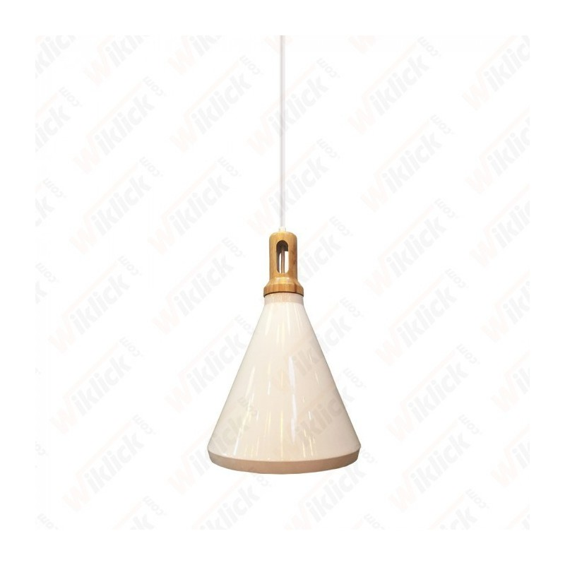 Modern Pendant Light Wooden Top Iron White Color Diametro 250 - NEW