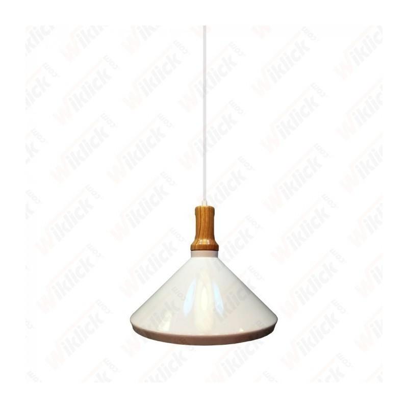 Modern Pendant Light Wooden Top Iron White Color Diametro 250 - NEW
