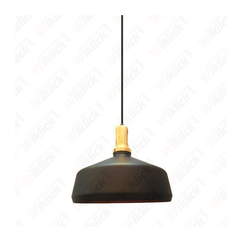 Modern Pendant Light Black Wooden Top  - NEW