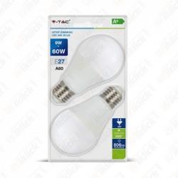 LED Bulb - 9W E27 A60 Thermoplastic 3Step Dimming 6400K (Blister 2 Pezzi)
